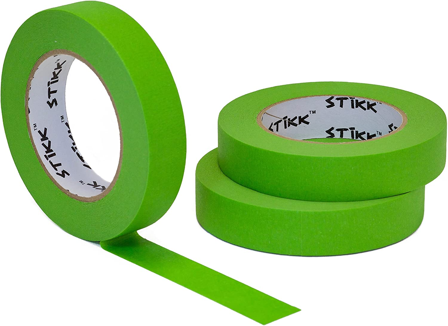 """3 Pack 1"""" x 60yd STIKK Green Painters Tape 14 Day Easy Removal Trim Edge Finishing Masking Tape (.94 in 24MM)"""