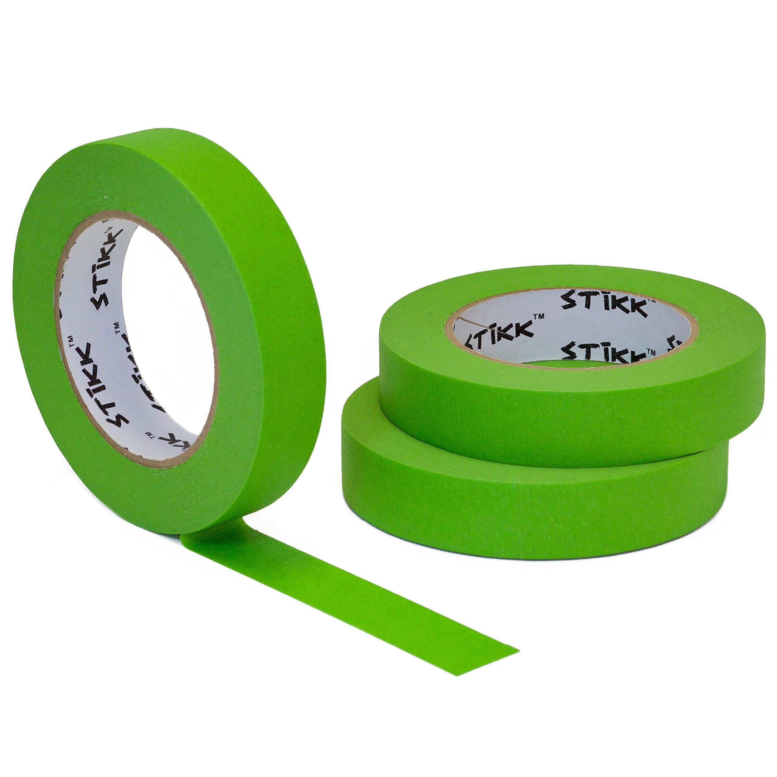 3 Pack 1'' x 60yd STIKK Green Painters Tape 14 Day Clean Release Trim Edge Finishing Masking Tape (.94 IN 24MM)