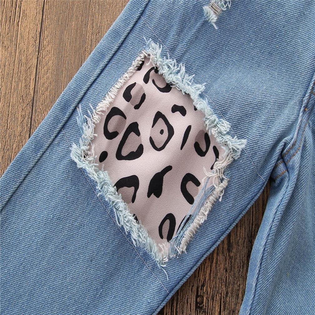SHOBDW Girls Clothing Sets Hole Denim Pant Jean Kids Baby Fashion Off Shoulder Crop Tops Headband Toddler Party Spring Summer Clothes