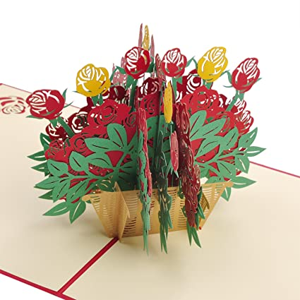 Amazon Fathers Day Card Rose Flower Basket Pop Up Cards 3d