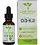 Vitamin D3 with K2 Liquid Drops, All Natural, Non GMO, 1208IU D3 and 25mcg K2 (MK7) Per Serving, Strengthen Bones, Boost Immune System and Energy Levels, with or without Peppermint Oil