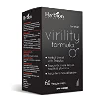 Herbion Naturals Virility Formula with Tribulus Power – Testosterone Booster, Enhances Energy, Size, Stimulates Fat Loss, and Muscle Definition, 60 veggie caps