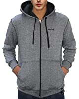 AWG Men's Black Melange Grindle Hoodie Sweatshirt with Zip