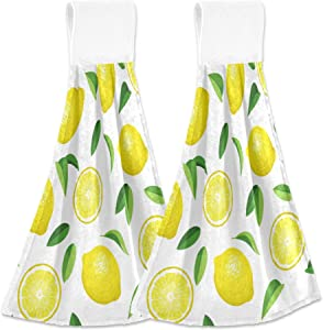 Aslsiy Fresh Lemons Hanging Kitchen Towels Yellow Lime Orange Slices Fruit Bathroom Hand Tie Towel Fast Drying Dish Tea Towels for Bath Tabletop Gym Home Decor Set of 2