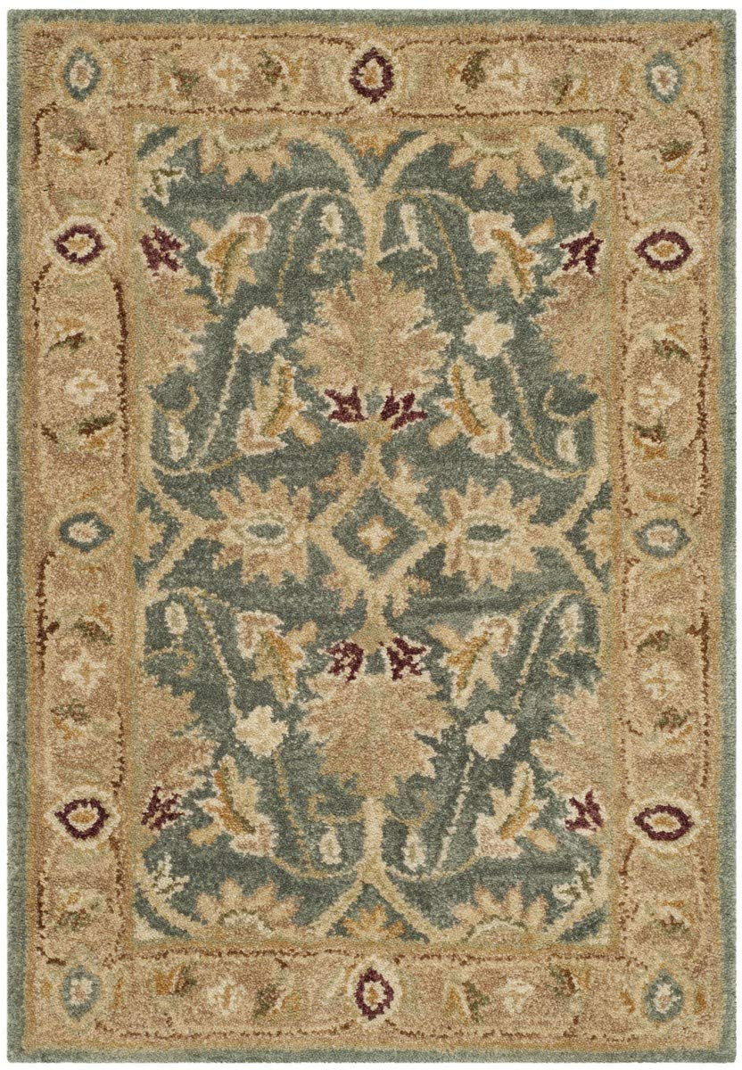 Safavieh Antiquities Collection AT849B Handmade Traditional Oriental Teal Blue and Taupe Wool Area Rug 2 x 3