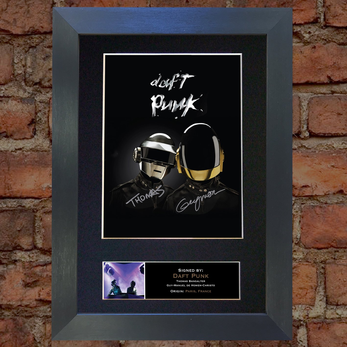 DAFT PUNK Top Quality Signed Autograph Mounted Photo Reproduction PRINT A4 Very Rare (297 x 210mm) #353 (Black Frame) The Autograph Collector