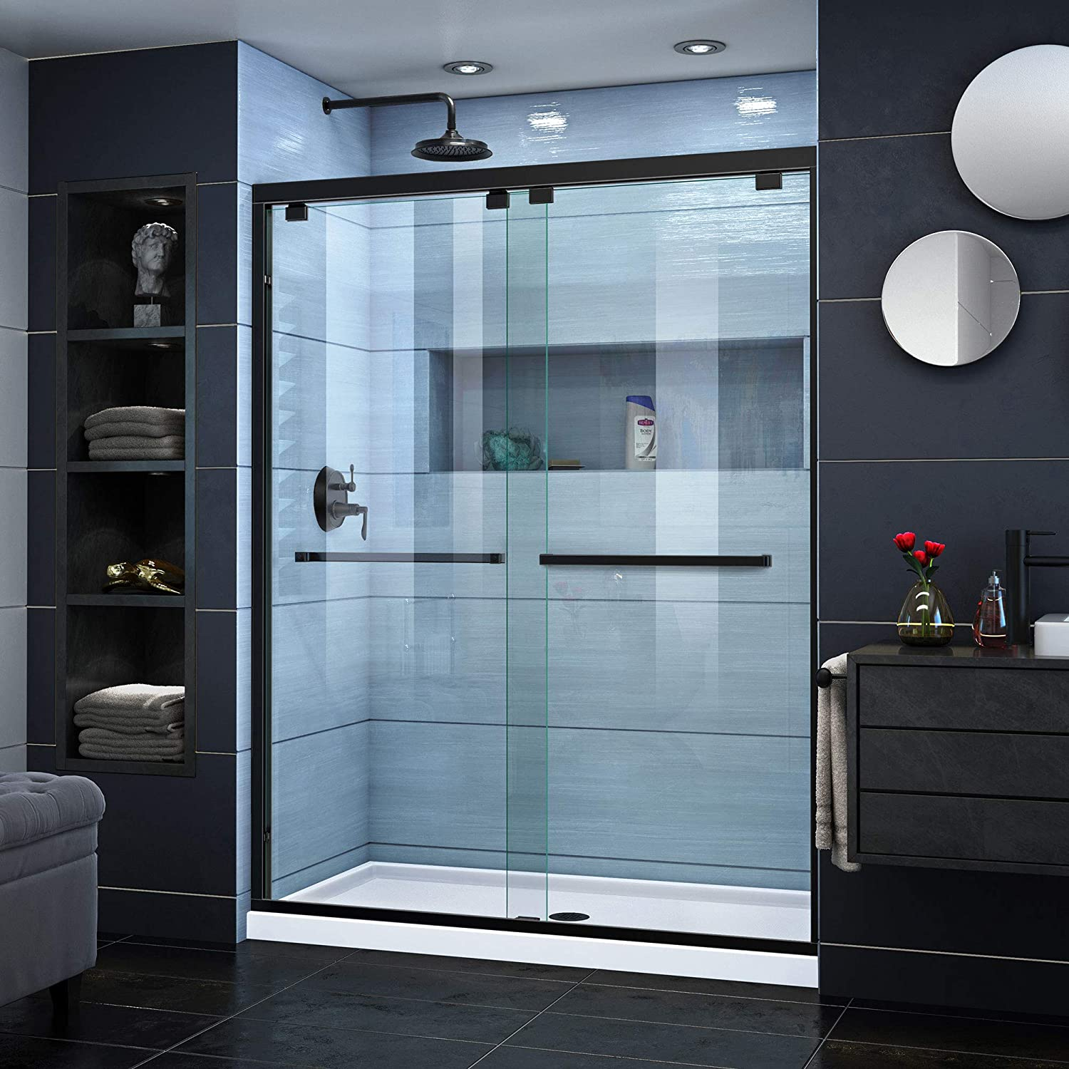 DreamLine Encore 50-54 in. W x 76 in. H Frameless Semi-Frameless Bypass Shower Door in Satin Black, SHDR-1654760-09