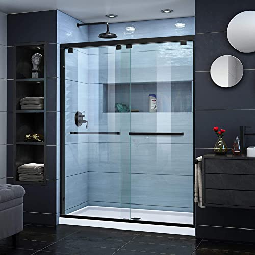 DreamLine Encore 50-54 in. W x 76 in. H Semi-Frameless Bypass Shower Door in Satin Black, SHDR-1654760-09