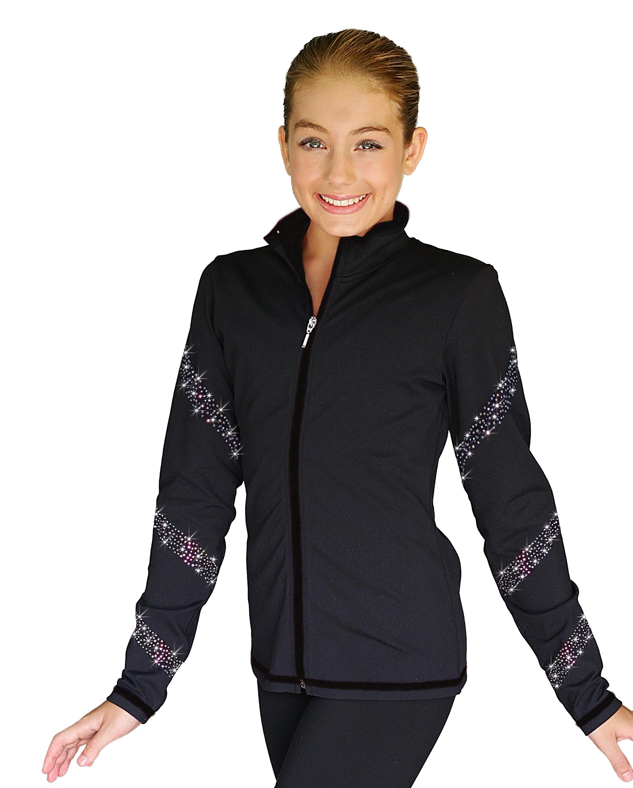 ChloeNoel JS96 Color Zipper Figure Skating Jacket with Crystals Spiral (Black/AB Crystals, Child Medium) by ChloeNoel