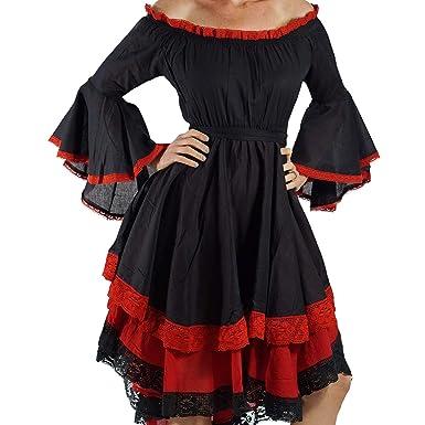 7392d3279c Amazon.com: zootzu Black/Red Lace Dress Long Sleeve Gypsy Pirate ...