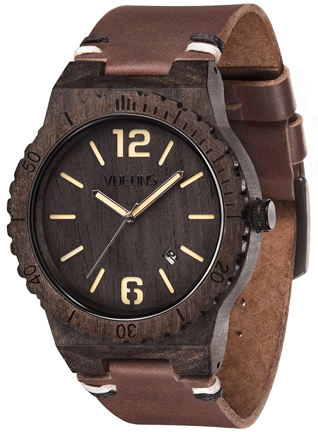 VOEONS Men's Wooden Case Watch with Leather Strap …