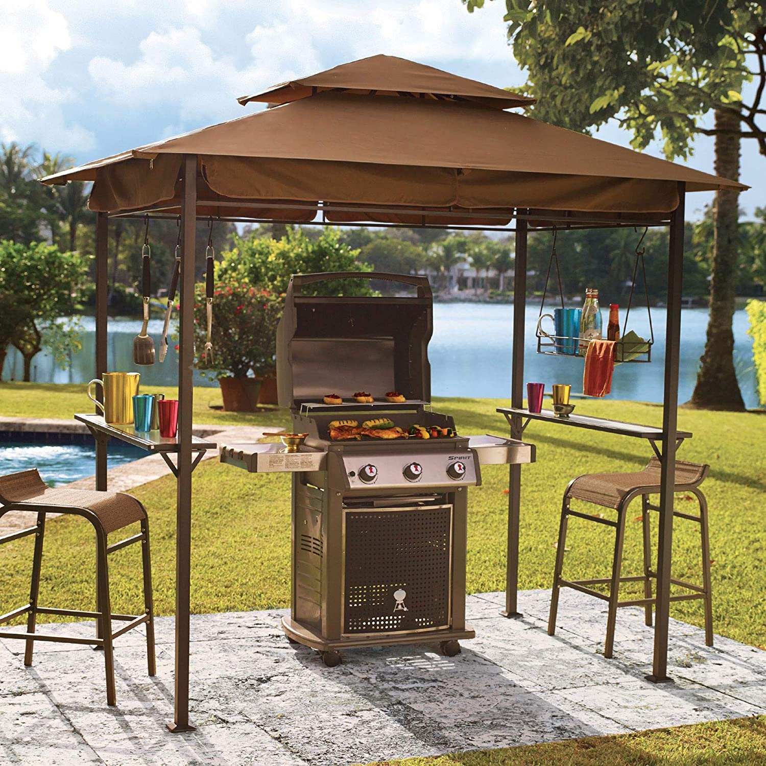 BrylaneHome Grillzebo Replacement Canopy – Taupe