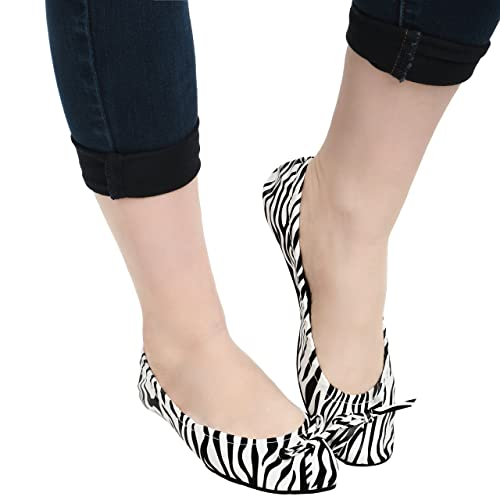 0b6538215 Island Wear Women's Foldable Ballet Flats Travel Shoes with Carrying Clutch  Case (Zebra, ...