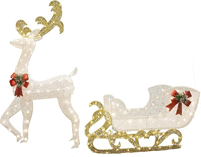 Joiedomi 5ft Fabric Christmas Reindeer with 3ft Sleigh LED Yard Lights for Christmas Outdoor Yard Garden Decorations, Christmas Event Decoration, Christmas Eve Night Decor