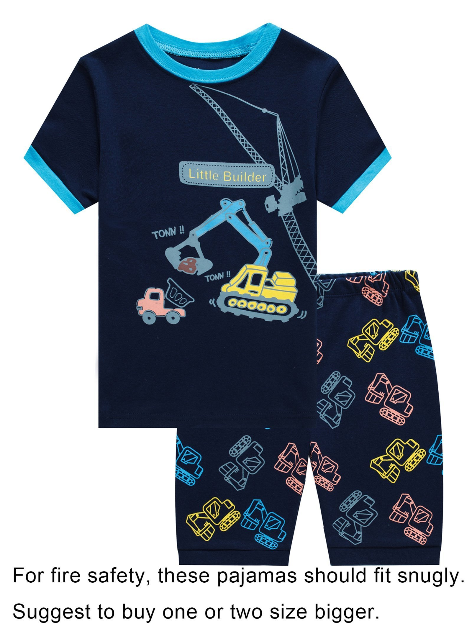 IF Pajamas Little Boys Snug-Fit Pajamas 100% Cotton Blue Pjs Clothes Kid 7