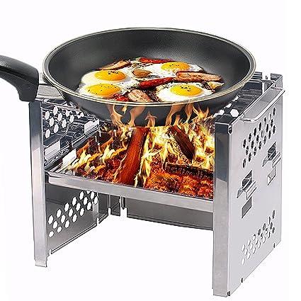 Unigear Cocinas de madera quema campamento picnic BBQ Cocina/potable plegable acero inoxidable estufa de