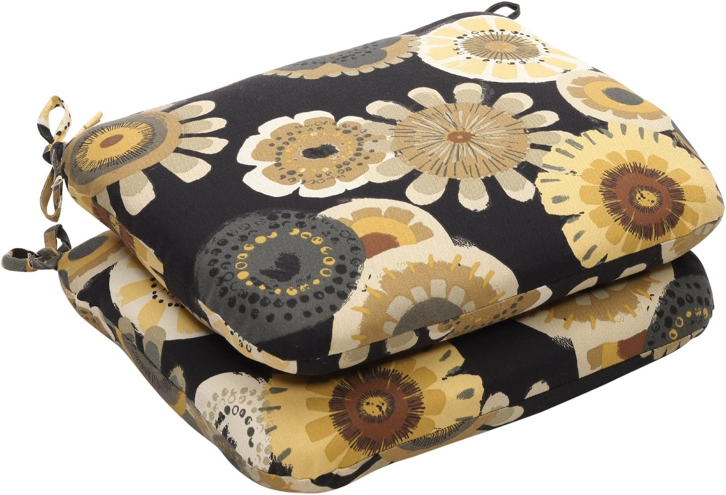 Pillow Perfect Indoor Outdoor Black Yellow Floral Seat Cushion Round, 2-Count