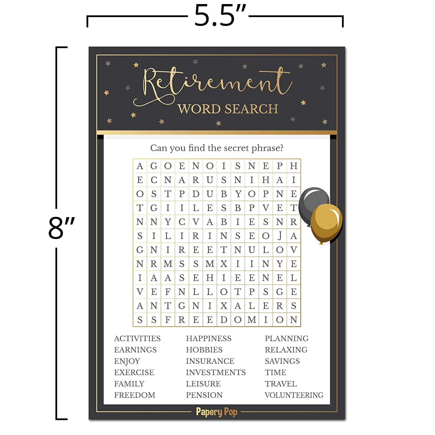 Job Work Retiree Celebration Papery Pop - Retirement Party Games Ideas Activities Supplies Retirement Party Word Search Game Cards 50 Pack