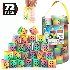 Liberty Imports 72 Pcs Mini Emoji Smiley Face Rainbow Springs in Storage Bucket - Bulk Set of Assorted Rainbow Magic Coil Stretch Toys for Birthdays, Prizes, Party Favors, Gifts