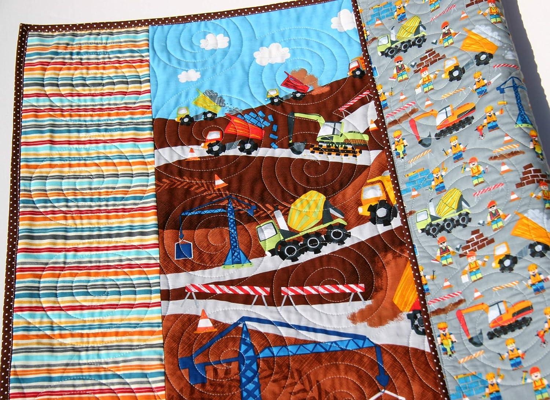 Vehicles Crane Dump Truck Tractor Construction Quilt Handmade Boy Baby Blanket Newborn Baby Shower Gifts for Him Truck Nursery Bedding