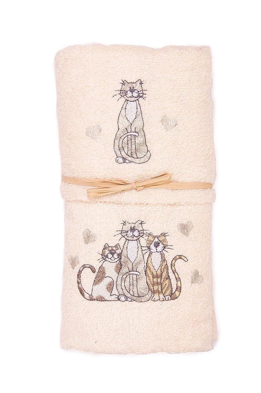 2er-Set Handt/ücher Motiv Katze//Katzen Geschenkidee. aus 100/% Baumwolle mit gesticktem Katzenmotiv Handtuch und Gesichtstuch Beige