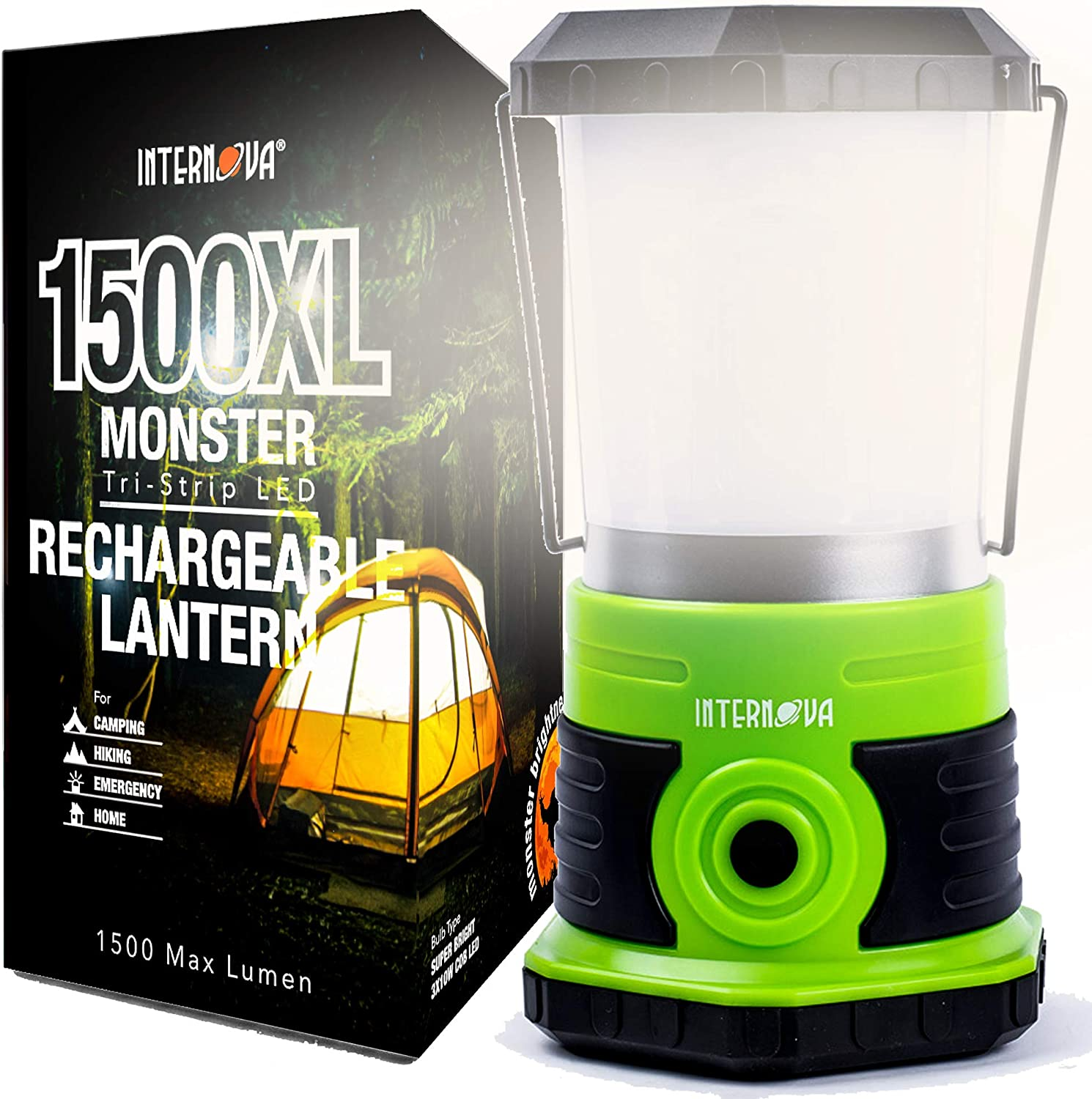 Internova Monster LED Camping Lantern - Massive Brightness with Both Battery and Rechargeable Models - The Perfect LED Lantern for Hurricane - Camp - Emergency Kit