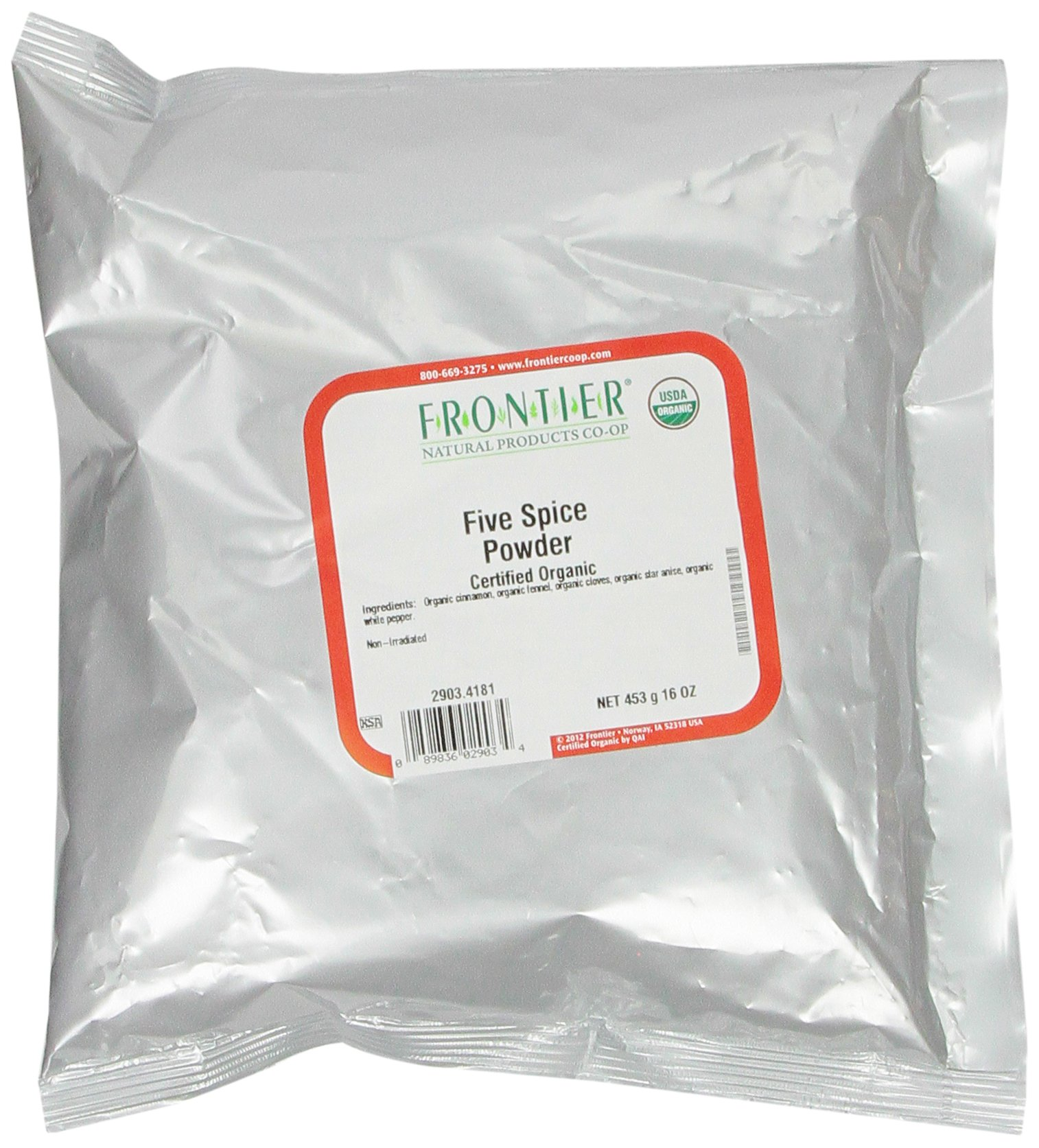 Frontier Five Spice Powder Certified Organic, 16 Ounce Bag