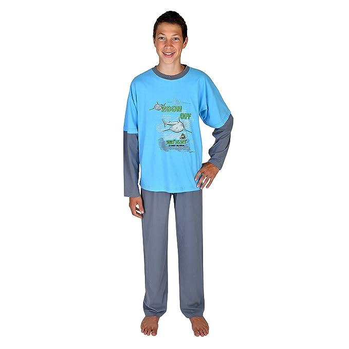 Pijamas para chicos 2 piezas Tiburon Zoom Off color azul oceano tallas 116-176 size 152: Amazon.es: Ropa y accesorios