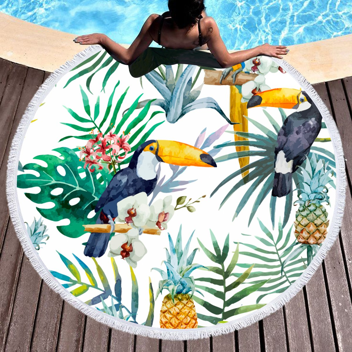 Sleepwish Woodpecker Bird Beach Towel Round Tapestry Beach Throw Roundie Circle Tassel Tablecloth (Tropical Paradise, 60'')