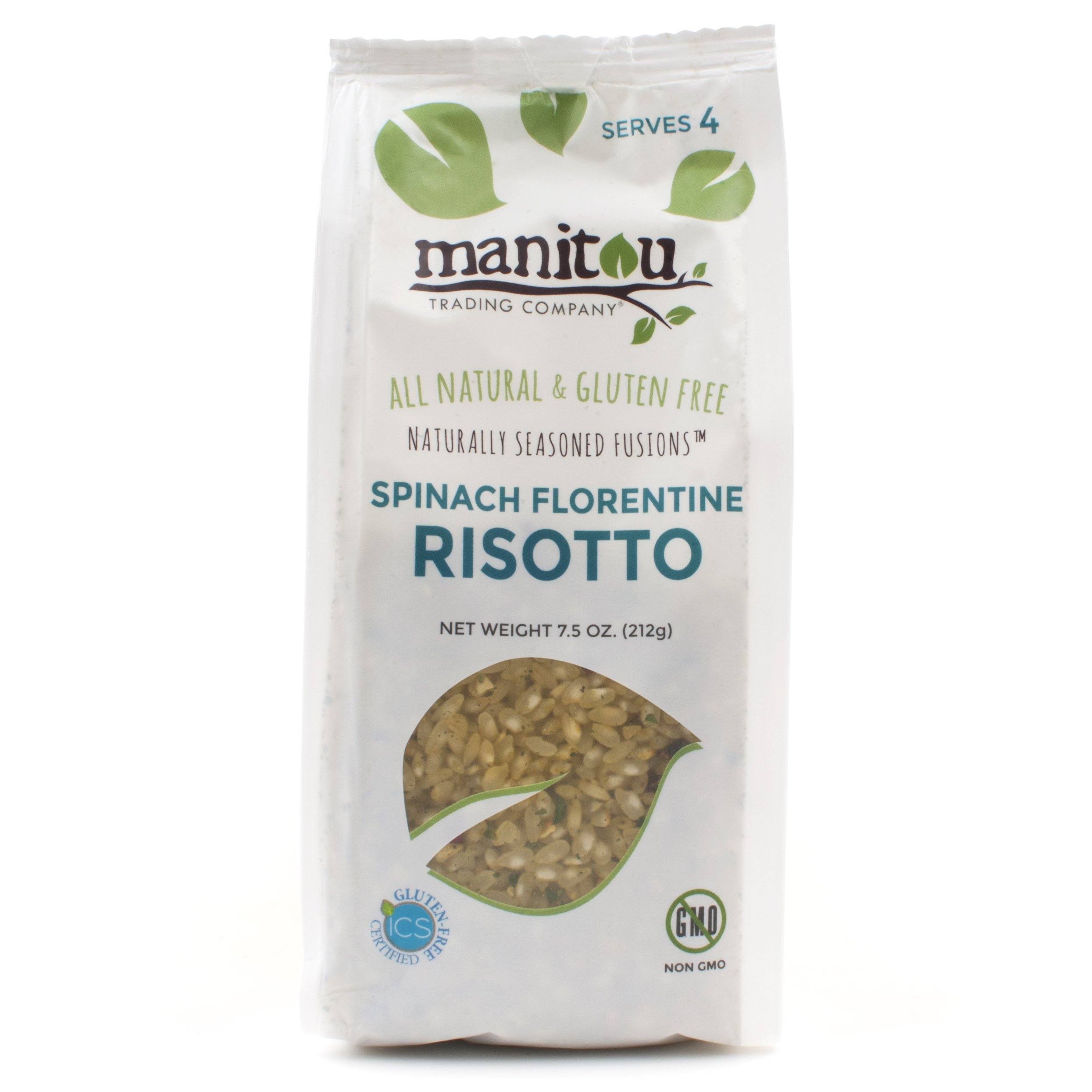 Spinach Florentine Risotto by Manitou Trading Company, 7.5 Oz Quad Seal (Case of 6) by Manitou Trading Company