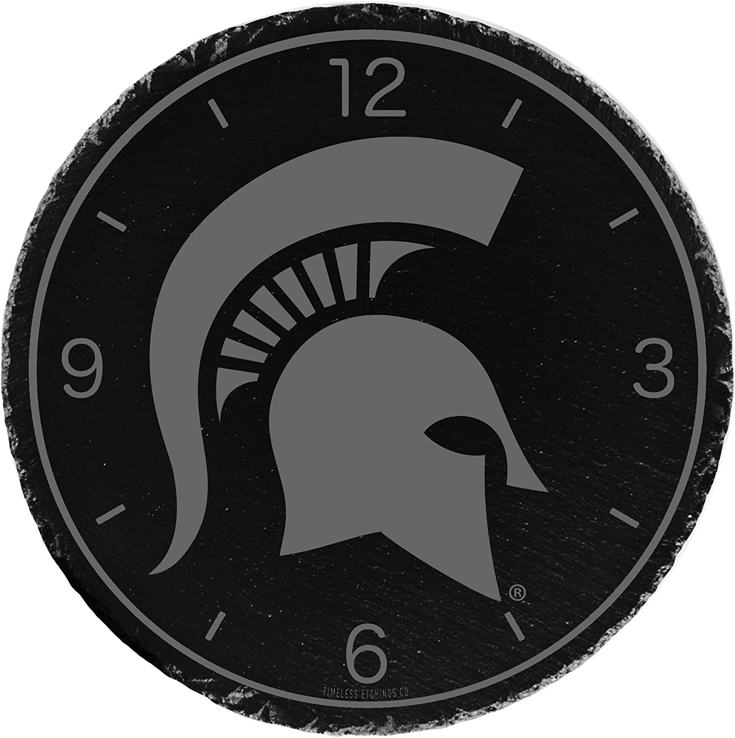 Black Timeless Etchings NCAA Michigan State Spartans Slate Clock-Michigan State one Size