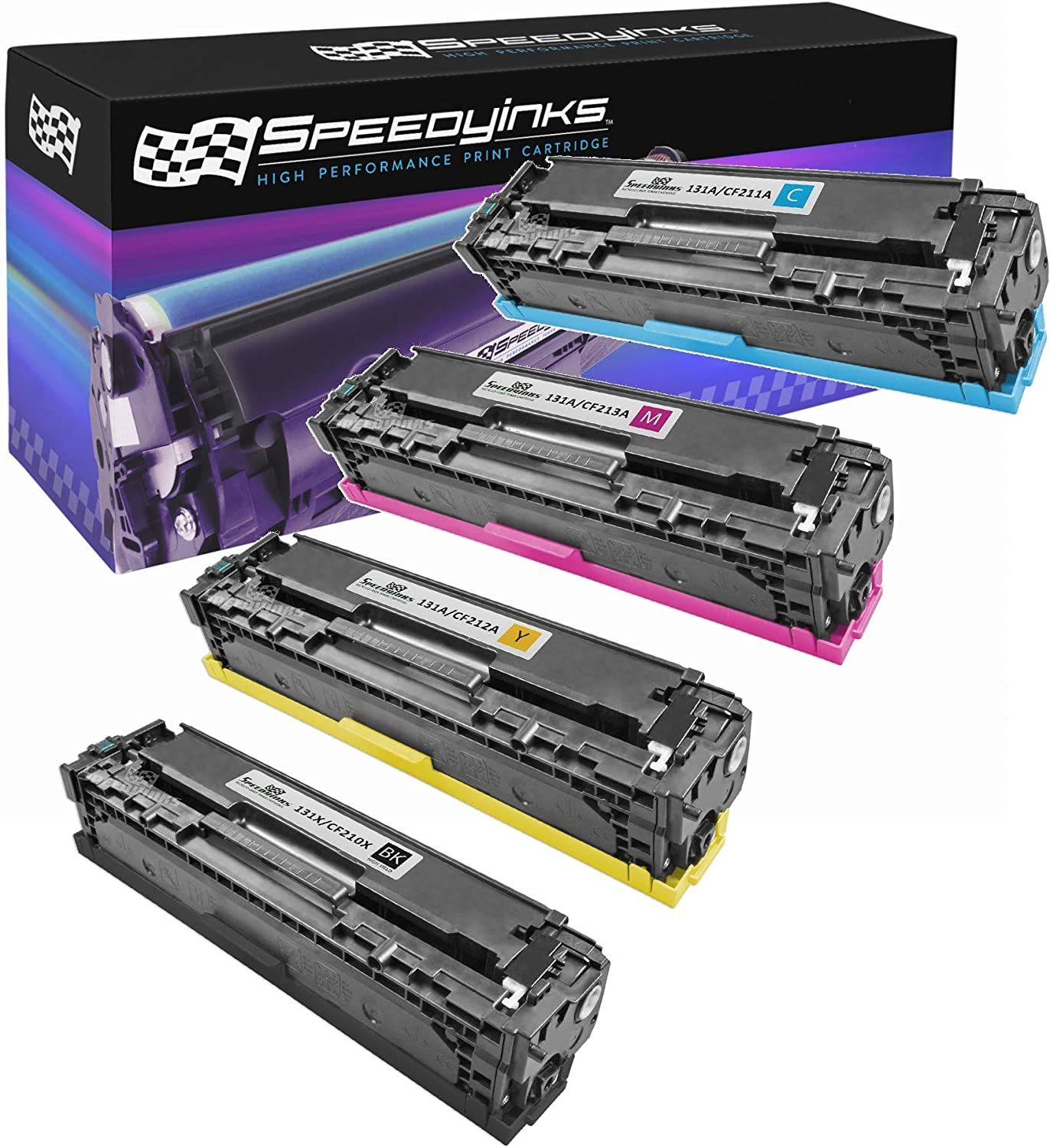 Speedy Inks Remanufactured Toner Cartridge Replacement for HP 131A (1 Black, 1 Cyan, 1 Magenta, 1 Yellow, 4-Pack)