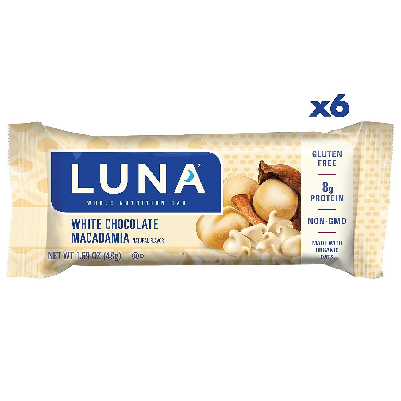 LUNA BAR - Gluten Free Bars - White Chocolate Macadamia - (1.69 Ounce Snack Bars, 6 Count)
