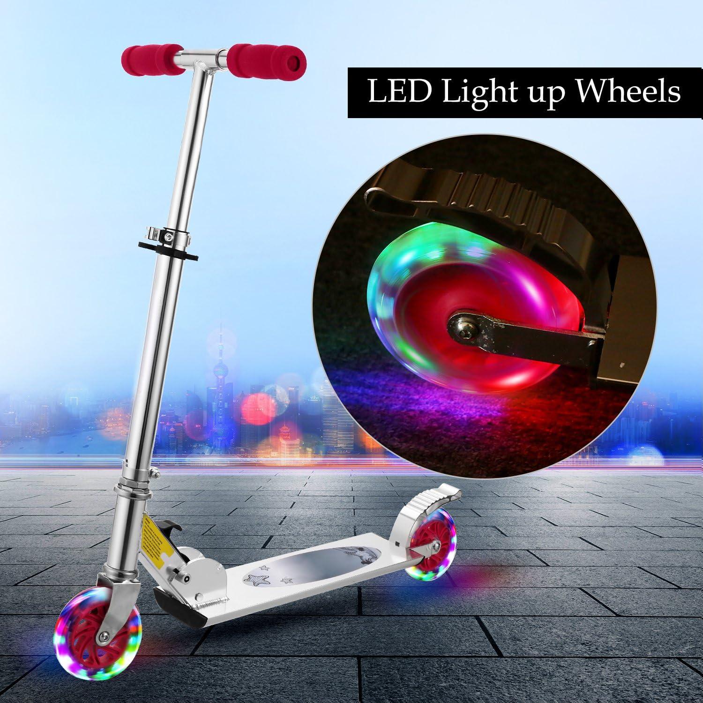Plohee US Stock Aluminum Alloy Kick Scooter Adjustable Height Light Up Wheels Best Gifts for Children Kids Boys Girls