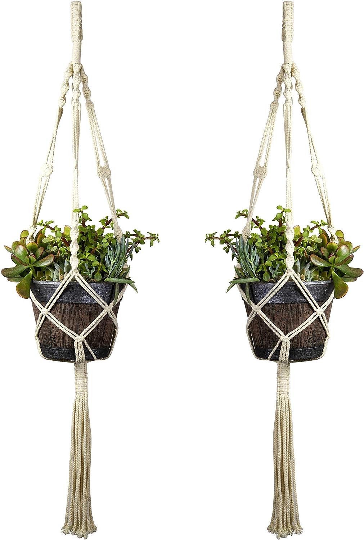 Hanging Planter, Macrame Plant Hangers, Bohemian Decor, 4 Legs, 41 inch, White, Handmade Cotton Rope, Large Plant Basket Holder, Boho Pots for Plants, Indoor Outdoor Garden Room Wall