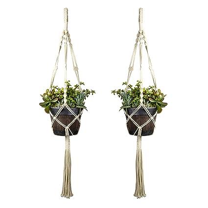 Plant Hangers Indoor Wall Hanging Planter Holder Basket Flower Pot Holder Handmade Cotton Rope 4 Legs Boho Home Decor Garden Supplies