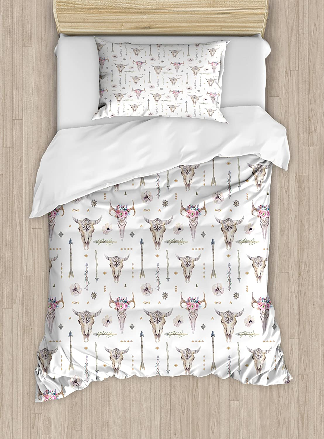 Ambesonne Arrows Duvet Cover Set Twin Size, Boho Pattern Artwork with Arrows Feathers Cow Skulls Rustic Theme Artwork, Decorative 2 Piece Bedding Set with 1 Pillow Sham, White Ivory Pink