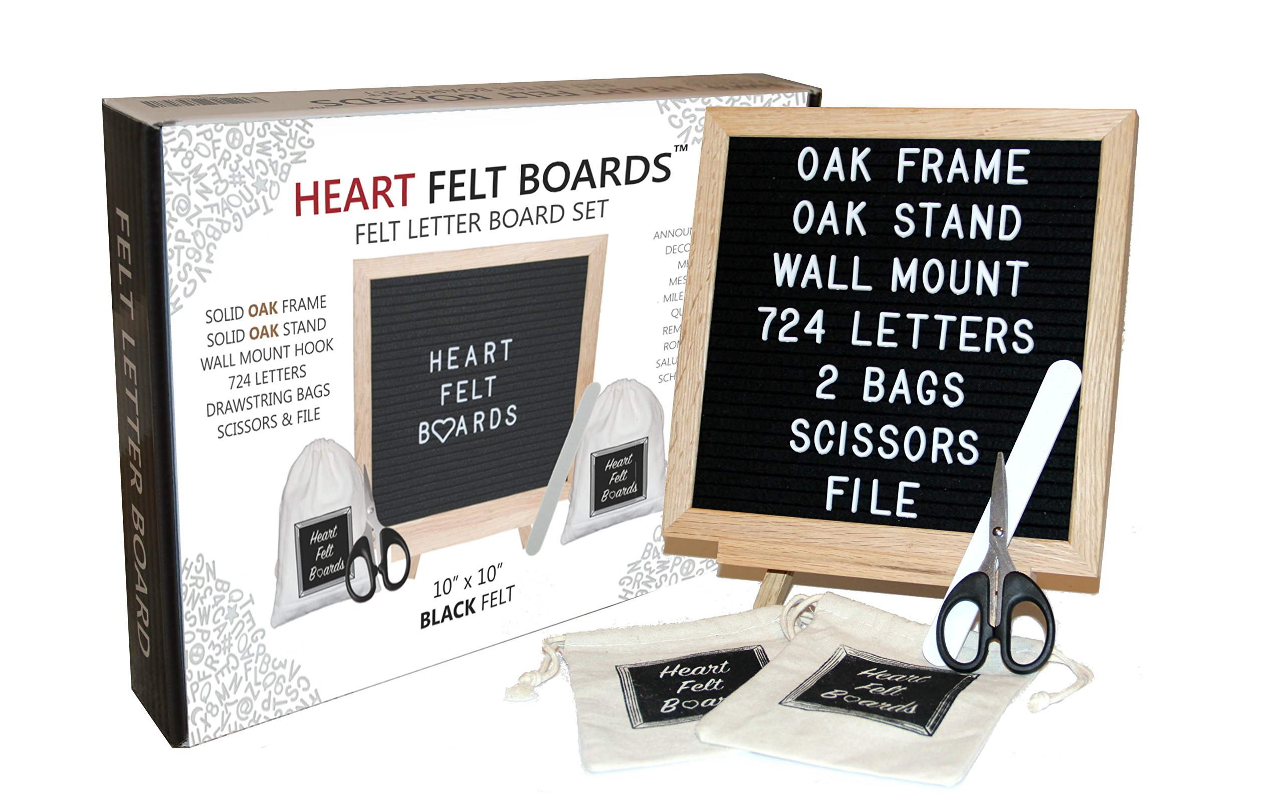 Felt Letter Board 10x10 - Oak Wood Frame Oak Tripod Stand - 724 White Letters - 2 Storage Bags Scissors File - Wall Mount Hanger - Emojis Symbols Numbers - Wood Changeable Message Display Sign (BLACK)