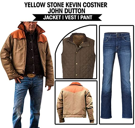 1d22fc8e5fab1 Men's Kevin costner Yellowstone John Dutton Cotton Jacket Vest ...