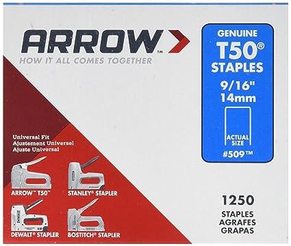 Arrow fastener 509 genuine t50 916 inch staples 1 250 pack arrow fastener 509 genuine t50 916 inch staples 1250 pack reheart Choice Image