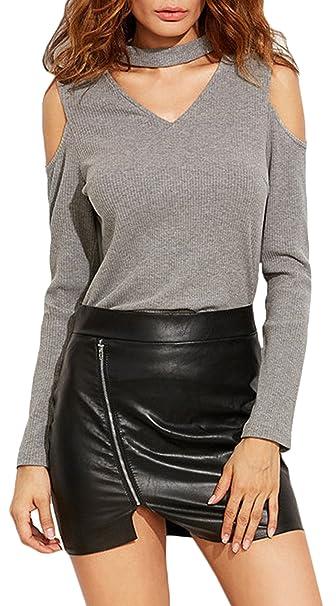 U-shot Mujeres blusa cuello V sexy con gargantilla cerrada ajustable camiseta gris gris 36