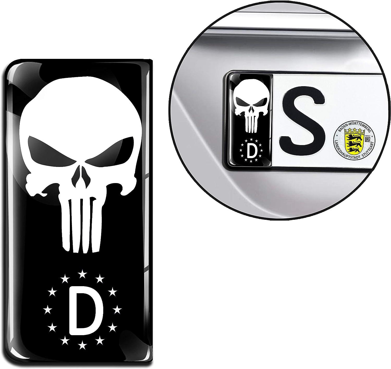 SkinoEu® 2 x 3D Gel Silicona Stickers Pegatinas para Placa de Matrícula UE Bandera de Alemania Punisher Skull Cráneo Calavera Adhesivos Autos Coches Motos Ciclomotores EU QS 24: Amazon.es: Coche y moto