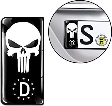 Skinoeu 2 X 3d Gel Silicone Number Plate Jdm Sticker Tuning Car Motorcycle Punisher Black Skull Middle Finger Eu Qs 24 Auto