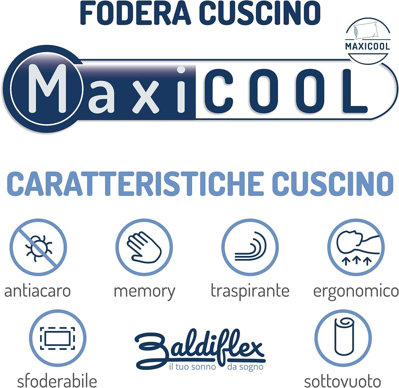 Ergonomique rev/êtement MaxiCool D/éhoussable Baldiflex Lot de 2 Oreillers Mousse Visco-/élastique pour Nuque
