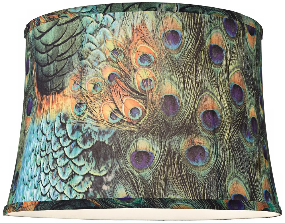 Peacock print drum lamp shade 14x16x11 spider household lamps peacock print drum lamp shade 14x16x11 spider household lamps amazon mozeypictures Gallery