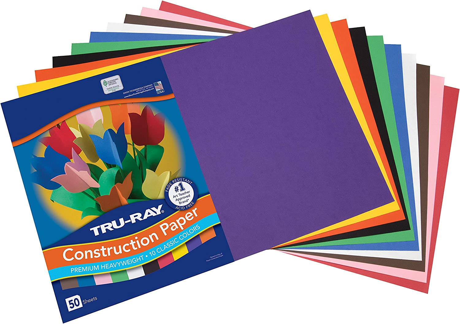 """Tru-Ray Construction Paper, 10 Classic Colors, 12"""" x 18"""", 50 Sheets : Office Products"""