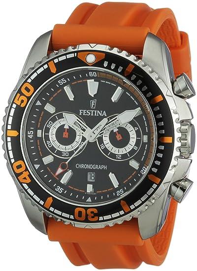 Festina F16574/2 - Reloj cronógrafo de cuarzo para hombre con correa de caucho, color naranja: Festina: Amazon.es: Relojes