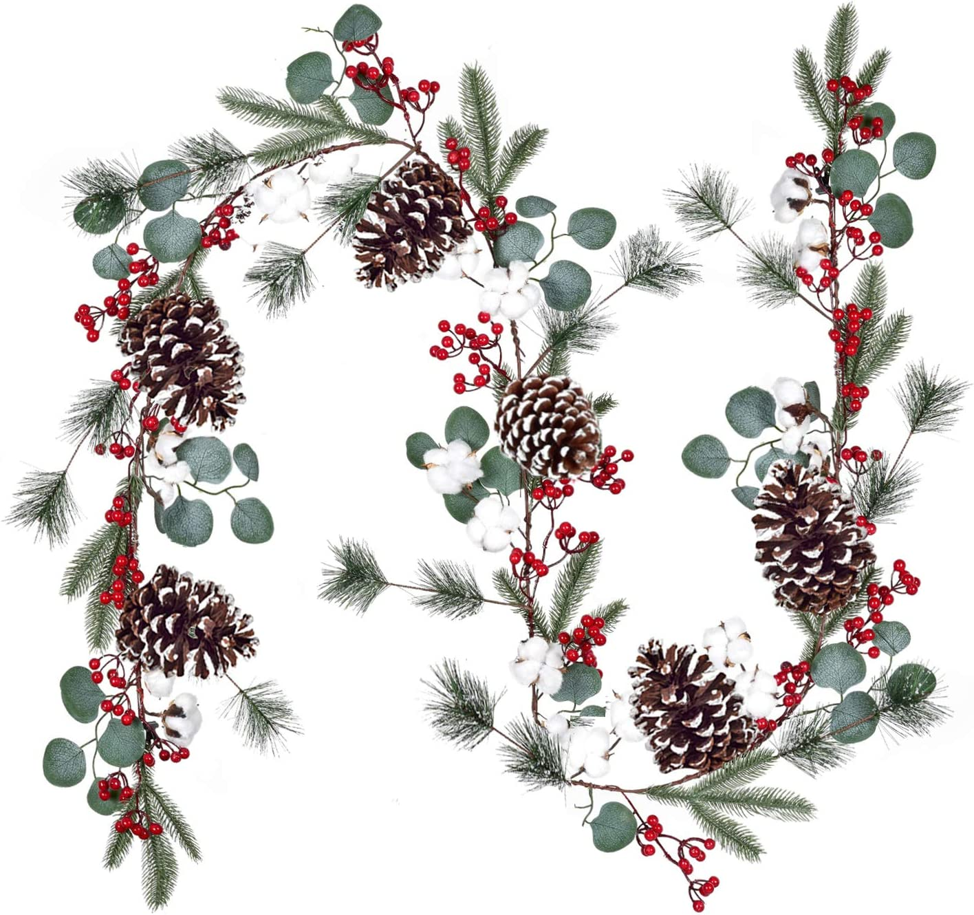 DearHouse 6Feet Berry Christmas Garland with Berries Pinecones Spruce Eucalyptus Leaves Cotton Balls Winter Artificial Greenery Garland for Holiday Season Mantel Fireplace Table Runner New Year Decor