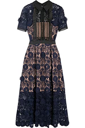 36515202abe2 Thankstop dress 2018 New Women Self Portrait Lila Floral Lace Runway Dress ,Blue,S