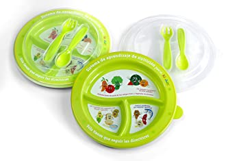 3 x Baby Weaning Food Pots Fridge Storage lunch box spoon plus plate for feeding